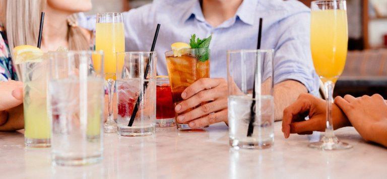 cocktails, socializing, people